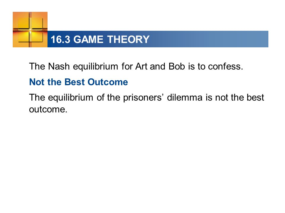 16.3 GAME THEORY The Nash equilibrium for Art and Bob is to confess.