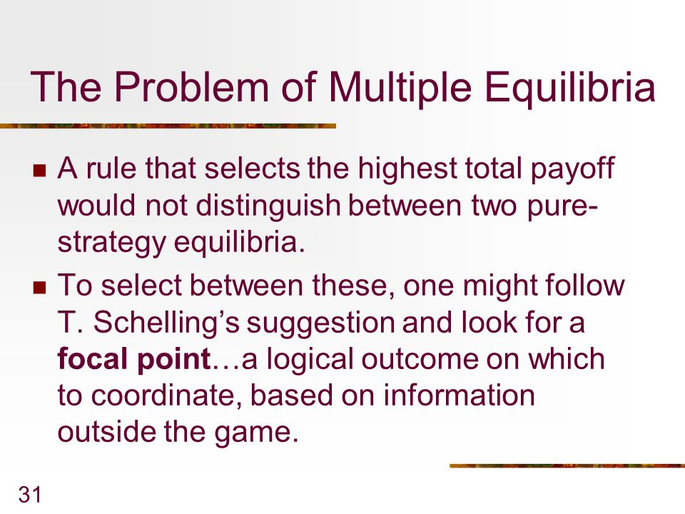 The Problem of Multiple Equilibria