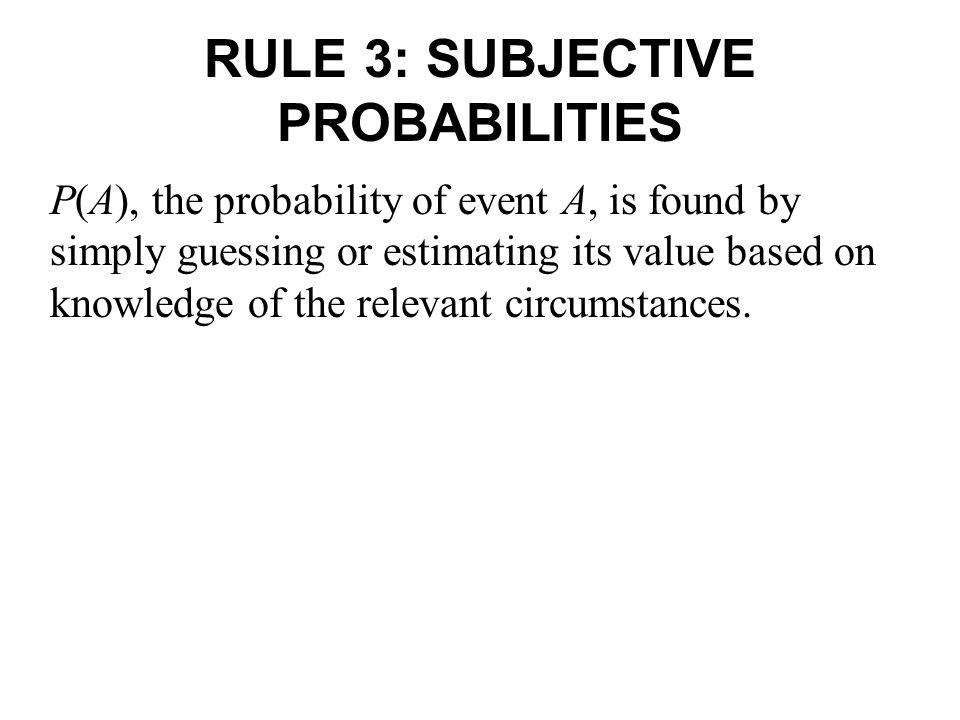 RULE 3: SUBJECTIVE PROBABILITIES