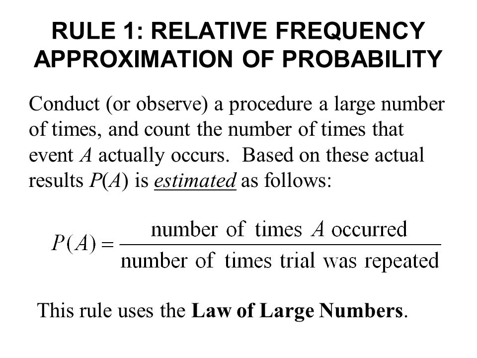 RULE 1: RELATIVE FREQUENCY APPROXIMATION OF PROBABILITY