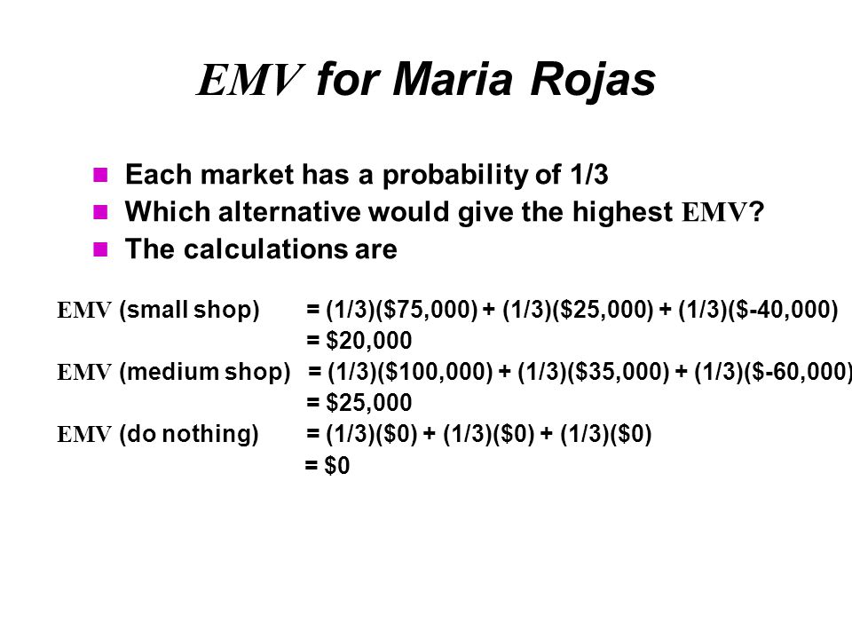 EMV for Maria Rojas Each market has a probability of 1/3