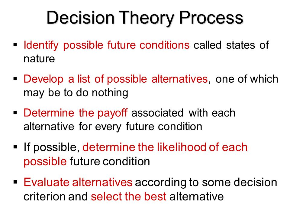 Decision Theory Process