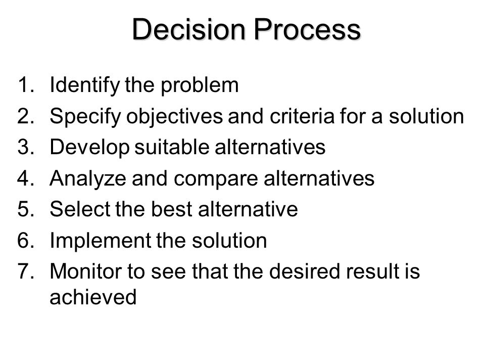 Decision Process Identify the problem