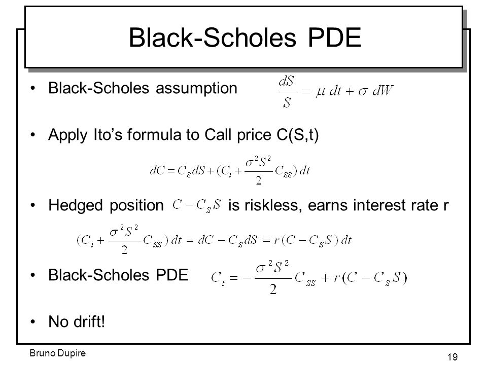 Black-Scholes PDE Black-Scholes assumption