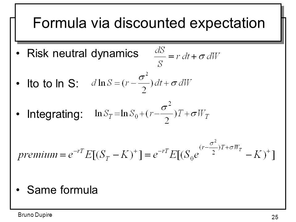 Formula via discounted expectation