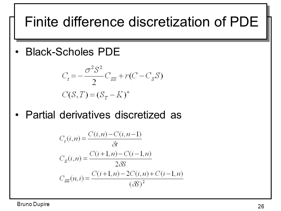 Finite difference discretization of PDE
