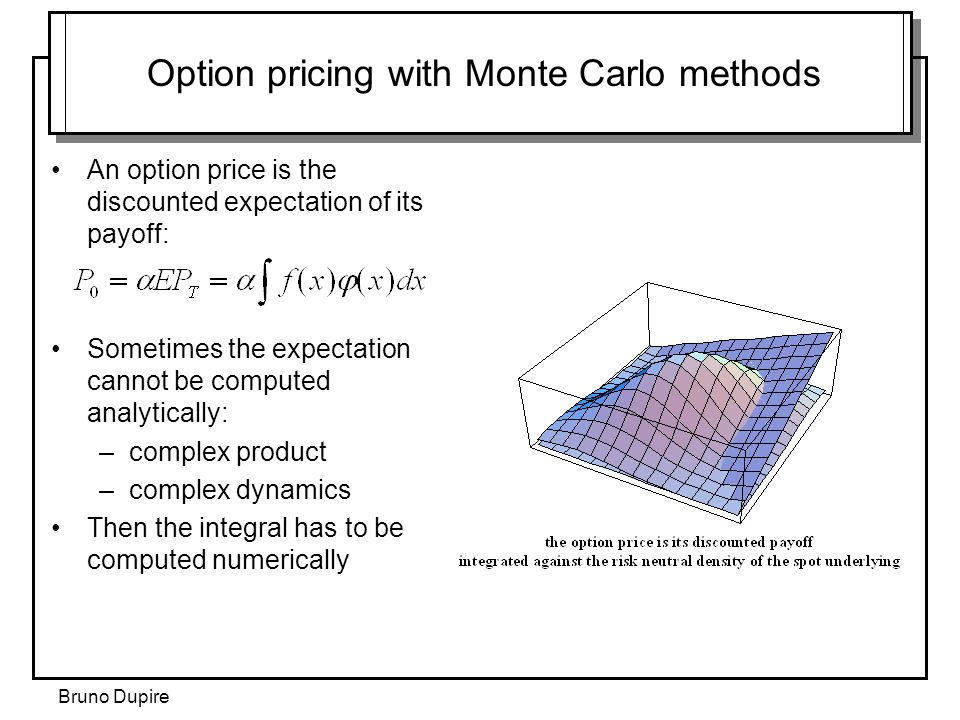 Option pricing with Monte Carlo methods