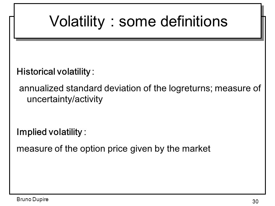 Volatility : some definitions