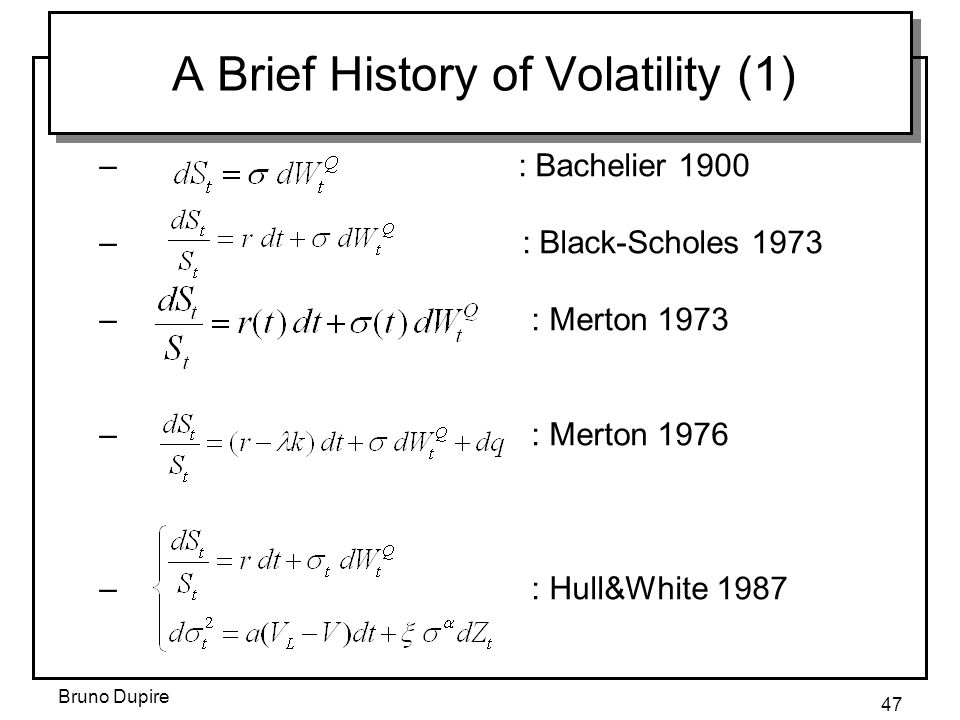 A Brief History of Volatility (1)