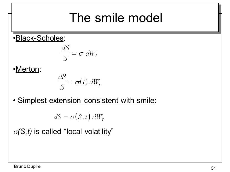 The smile model Black-Scholes: Merton: