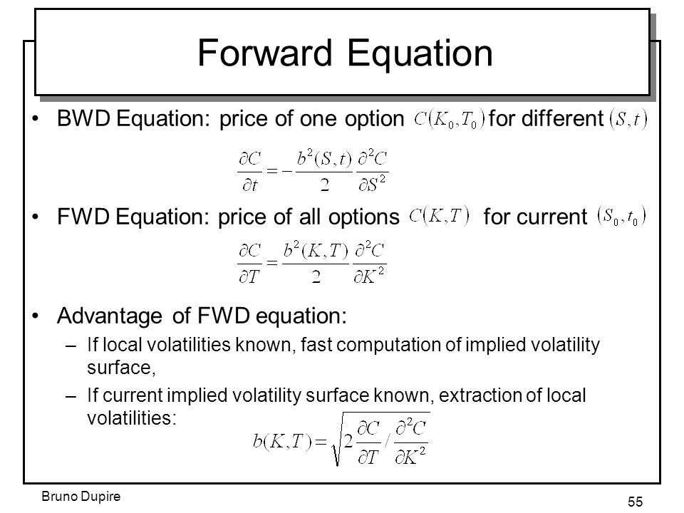 Forward Equation BWD Equation: price of one option for different
