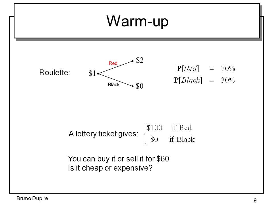 Warm-up Roulette: A lottery ticket gives: