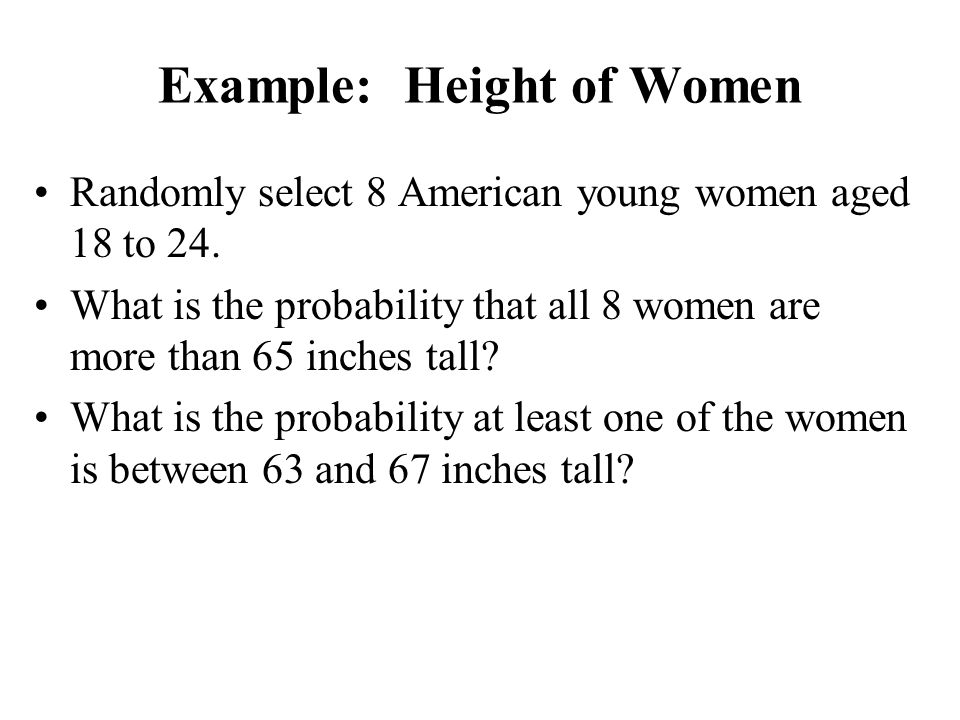 Example: Height of Women