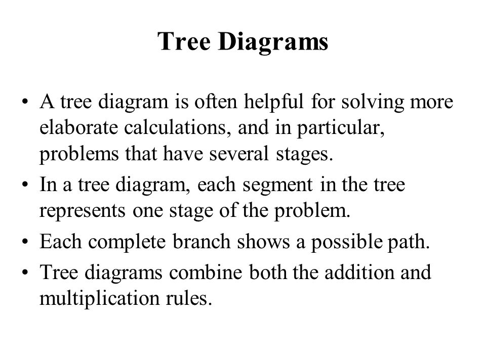Tree Diagrams A tree diagram is often helpful for solving more elaborate calculations, and in particular, problems that have several stages.