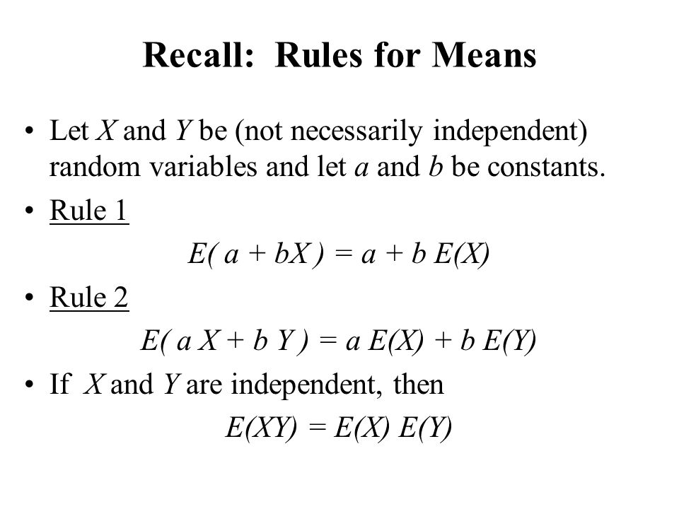 Recall: Rules for Means