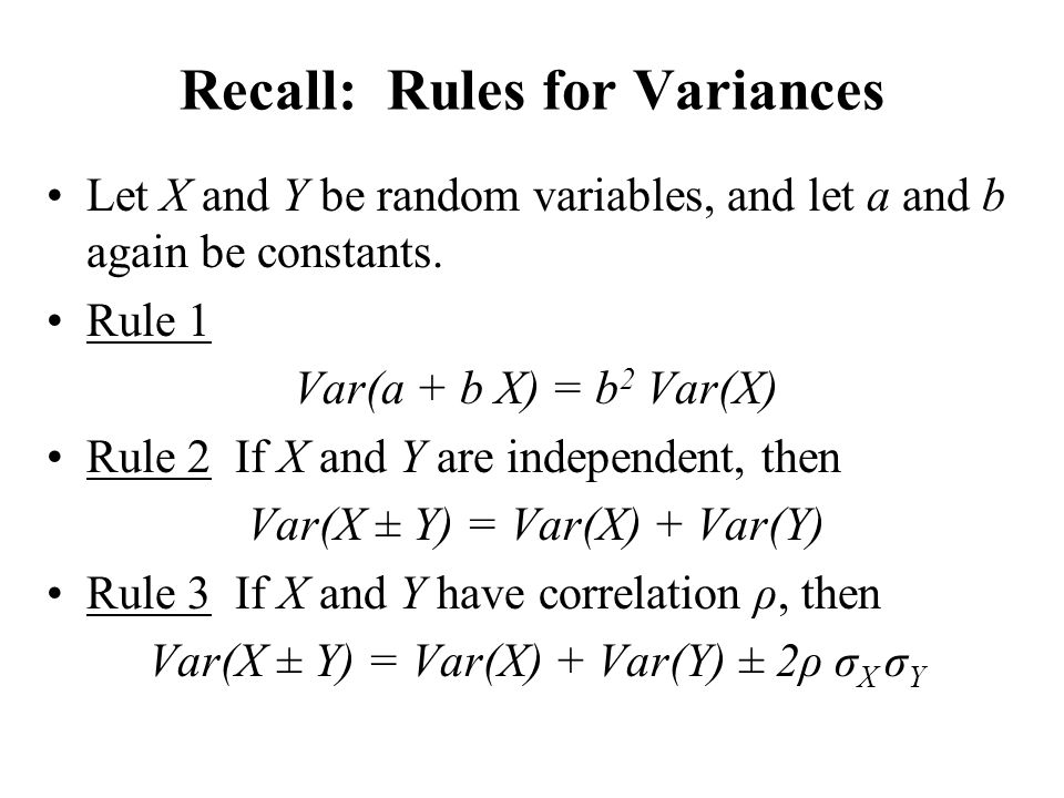 Recall: Rules for Variances