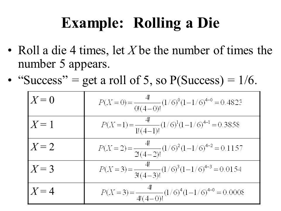 Example: Rolling a Die Roll a die 4 times, let X be the number of times the number 5 appears. Success = get a roll of 5, so P(Success) = 1/6.