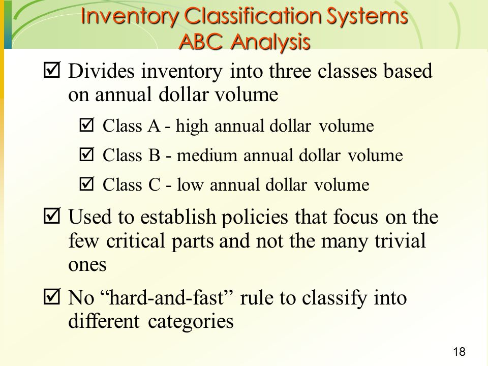 Inventory Classification Systems ABC Analysis
