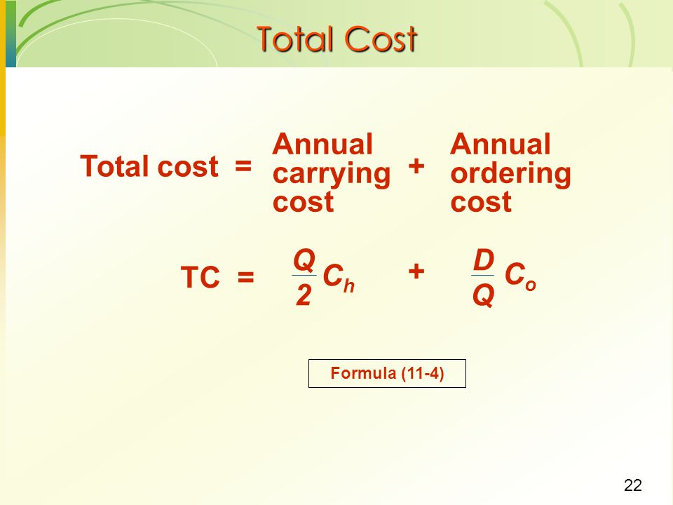 Total Cost Annual carrying cost ordering Total cost = + Q 2 Ch D Co