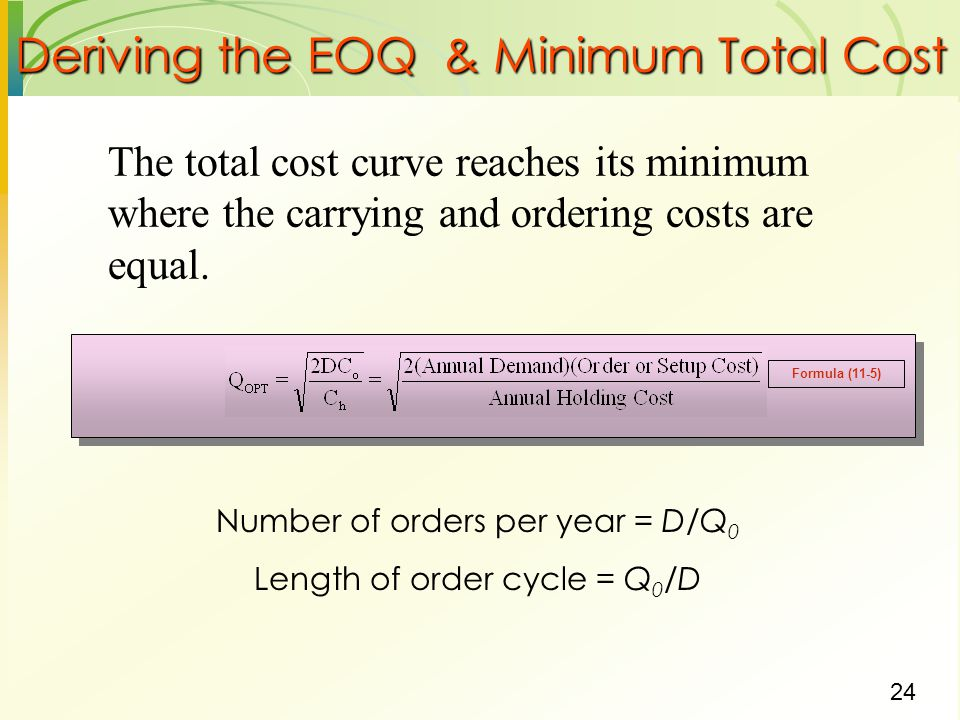 Deriving the EOQ & Minimum Total Cost