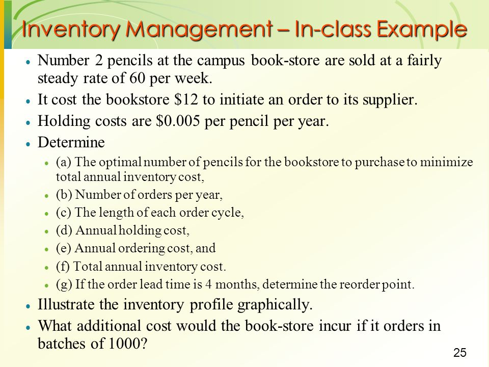 Inventory Management – In-class Example