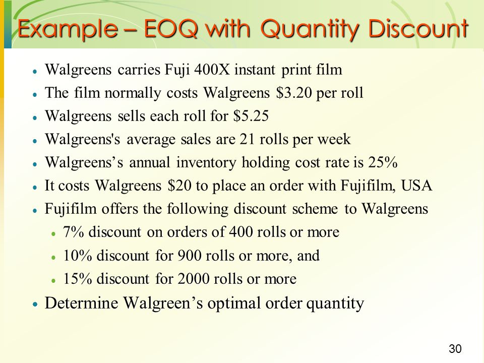 Example – EOQ with Quantity Discount