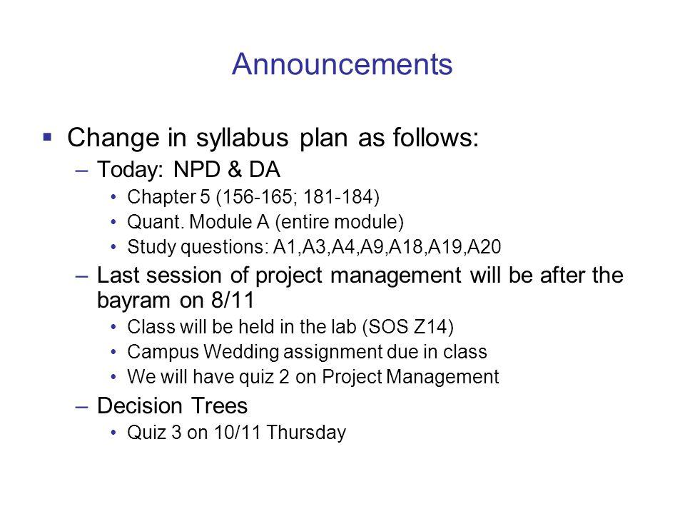 Announcements Change in syllabus plan as follows: Today: NPD & DA