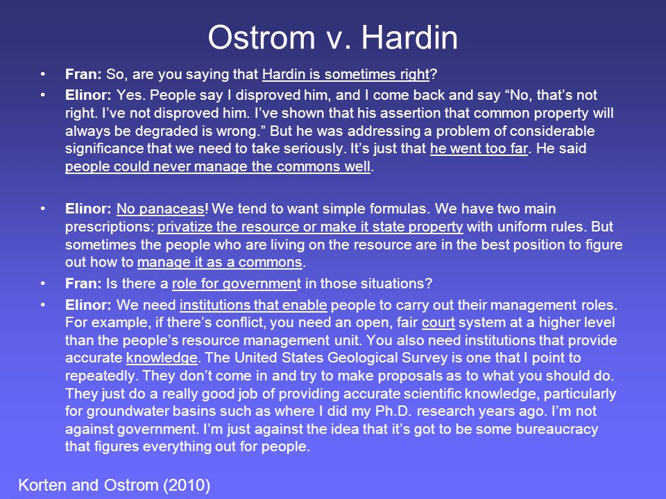 Ostrom v. Hardin Korten and Ostrom (2010)