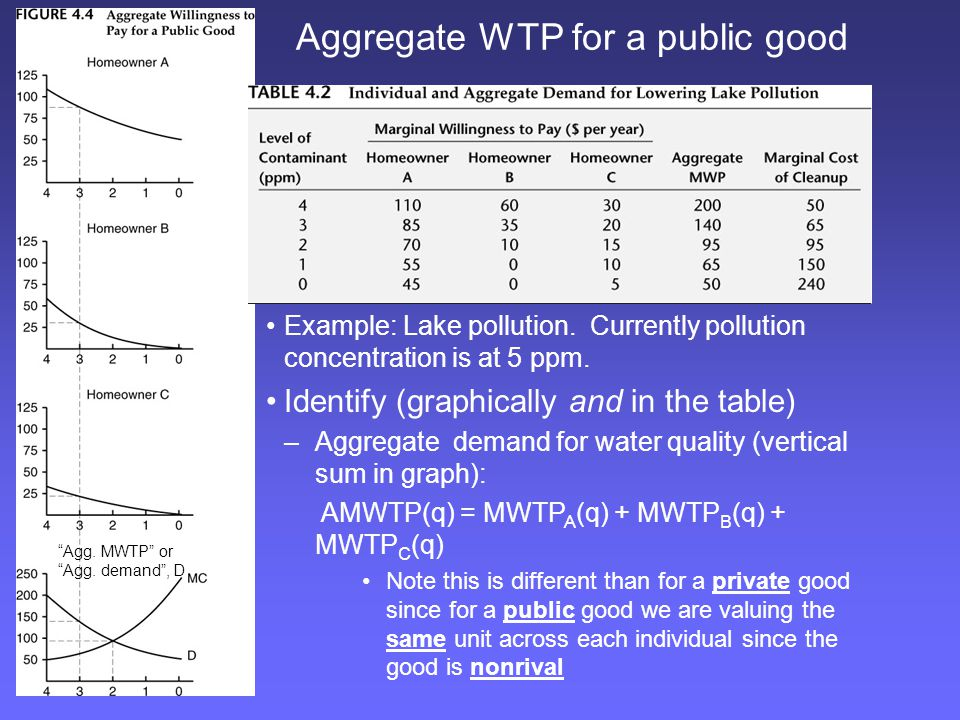 Aggregate WTP for a public good