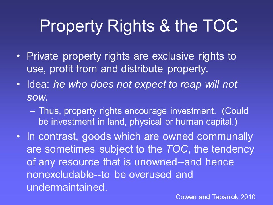 Property Rights & the TOC