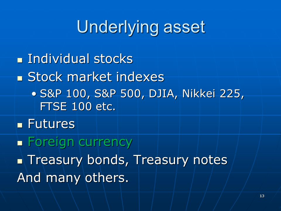 Underlying asset Individual stocks Stock market indexes Futures