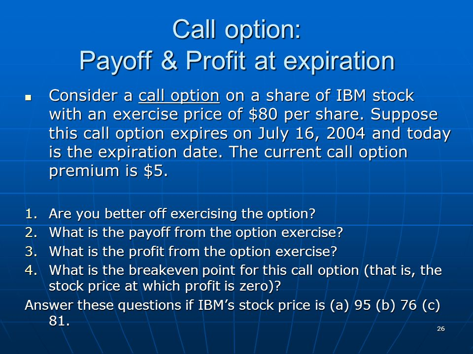 Call option: Payoff & Profit at expiration