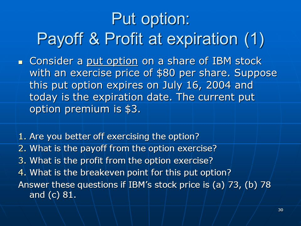 Put option: Payoff & Profit at expiration (1)