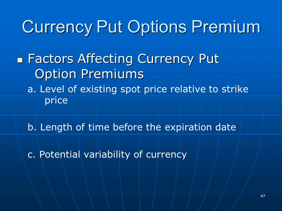 Currency Put Options Premium