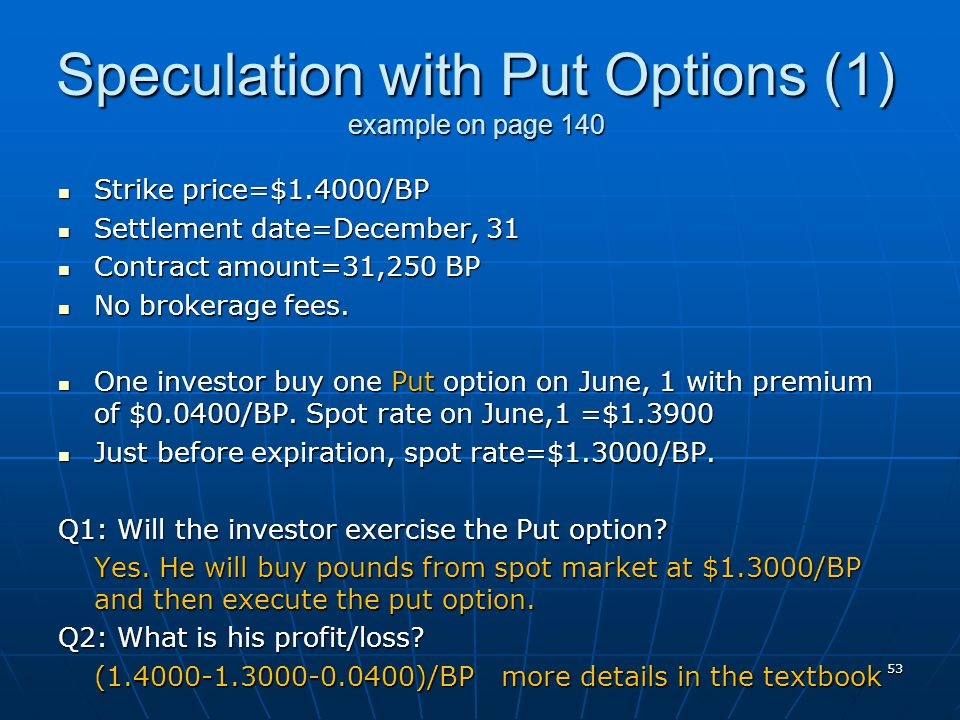 Speculation with Put Options (1) example on page 140