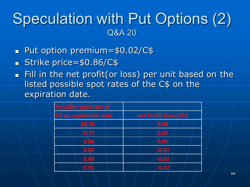 Speculation with Put Options (2) Q&A 20