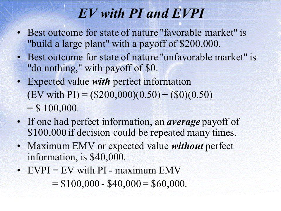 EV with PI and EVPI Best outcome for state of nature favorable market is build a large plant with a payoff of $200,000.