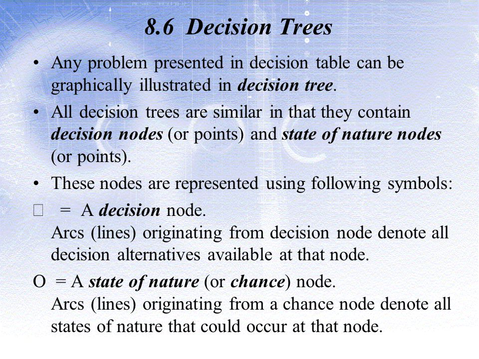 8.6 Decision Trees Any problem presented in decision table can be graphically illustrated in decision tree.