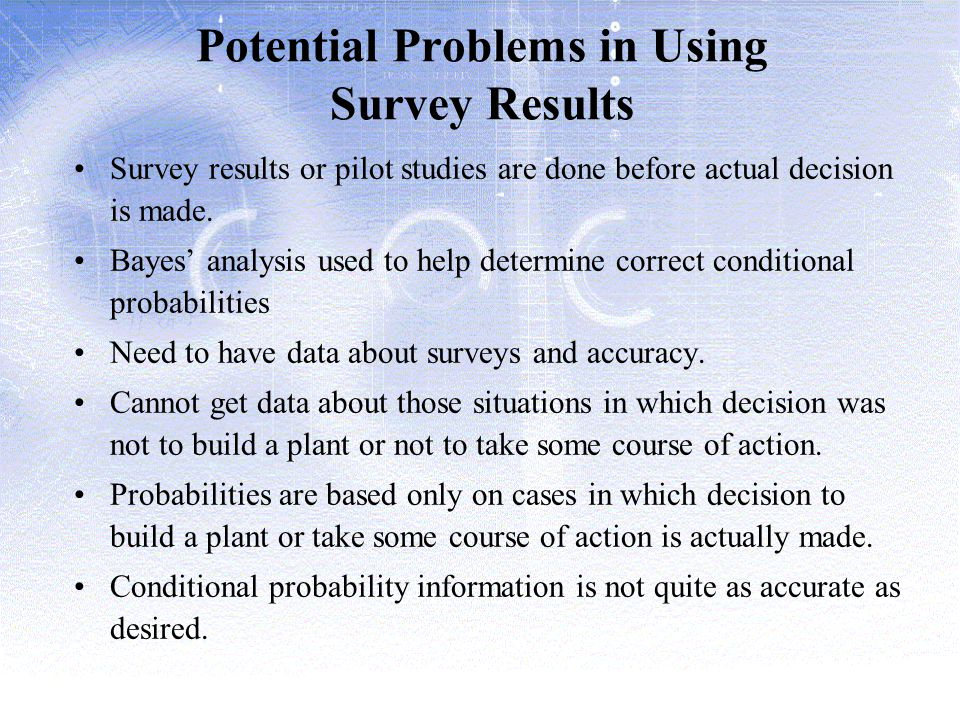 Potential Problems in Using Survey Results