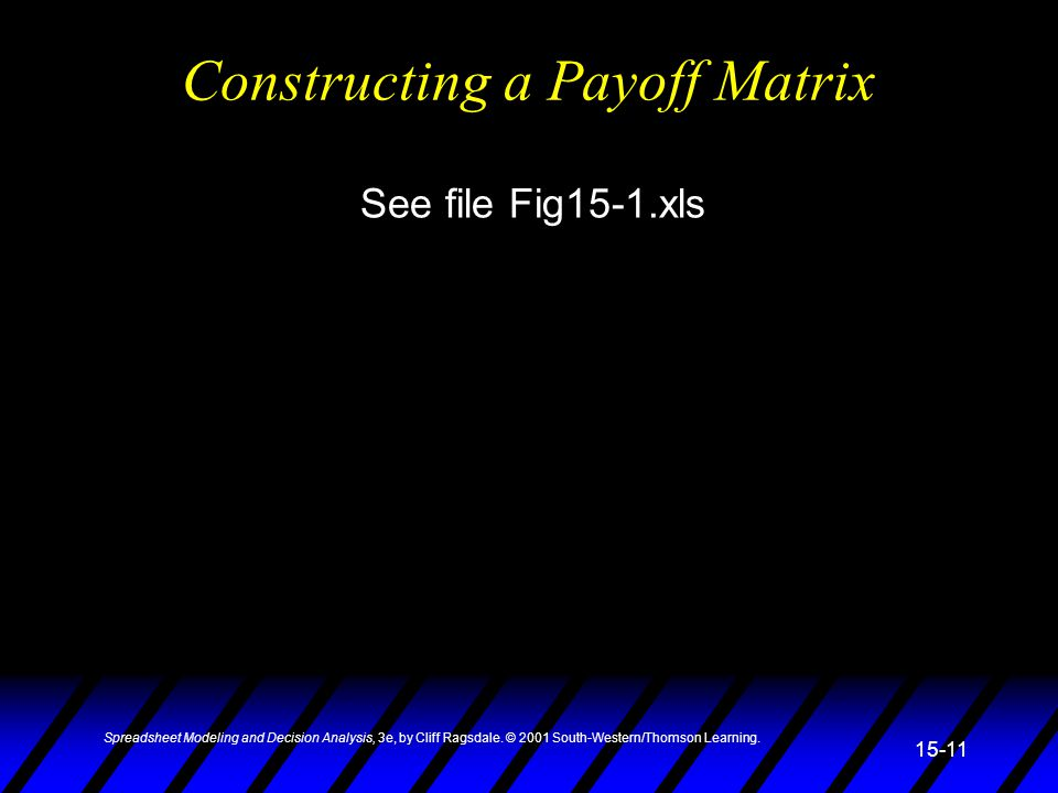 Constructing a Payoff Matrix