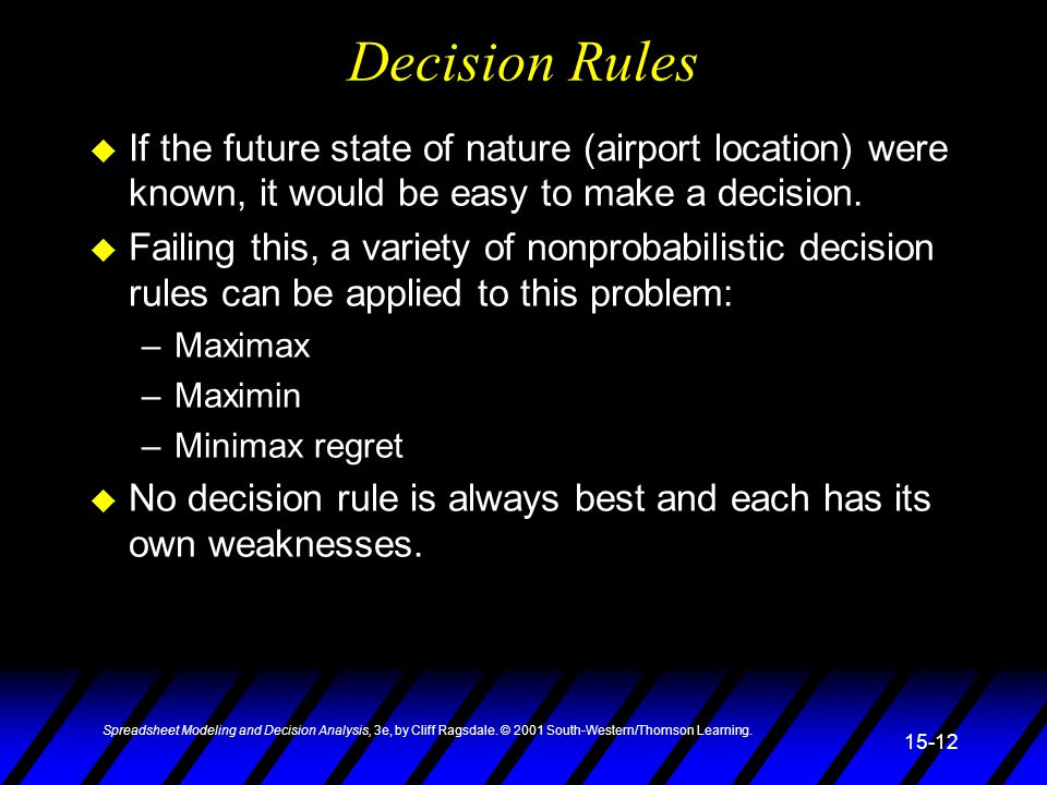 Decision Rules If the future state of nature (airport location) were known, it would be easy to make a decision.