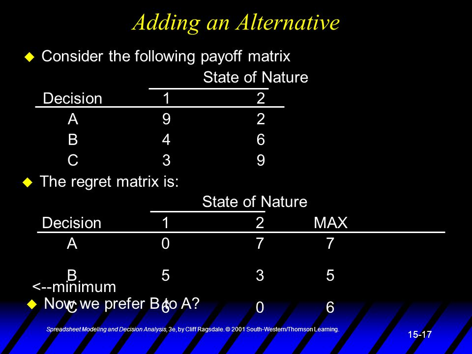 Adding an Alternative Consider the following payoff matrix