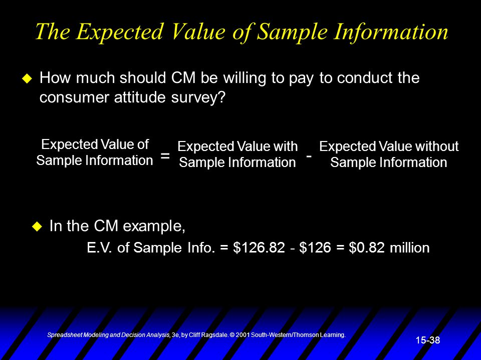 The Expected Value of Sample Information