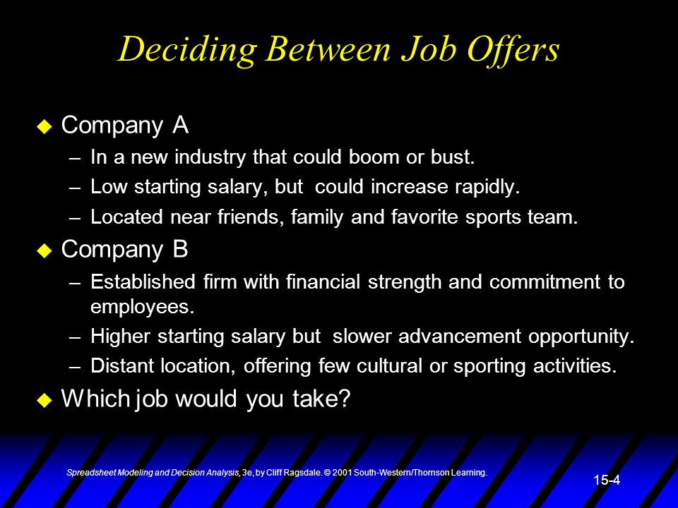 Deciding Between Job Offers