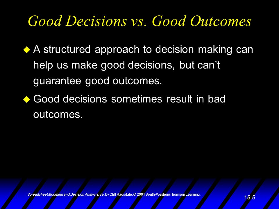 Good Decisions vs. Good Outcomes