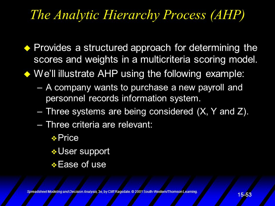 The Analytic Hierarchy Process (AHP)