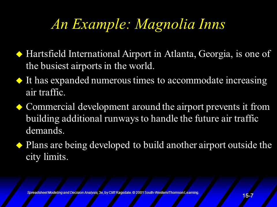 An Example: Magnolia Inns