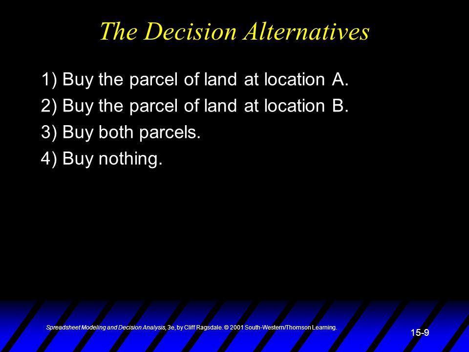 The Decision Alternatives