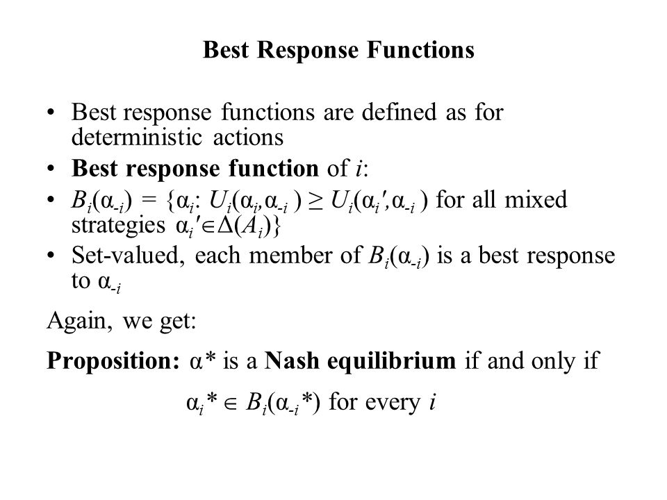Best Response Functions
