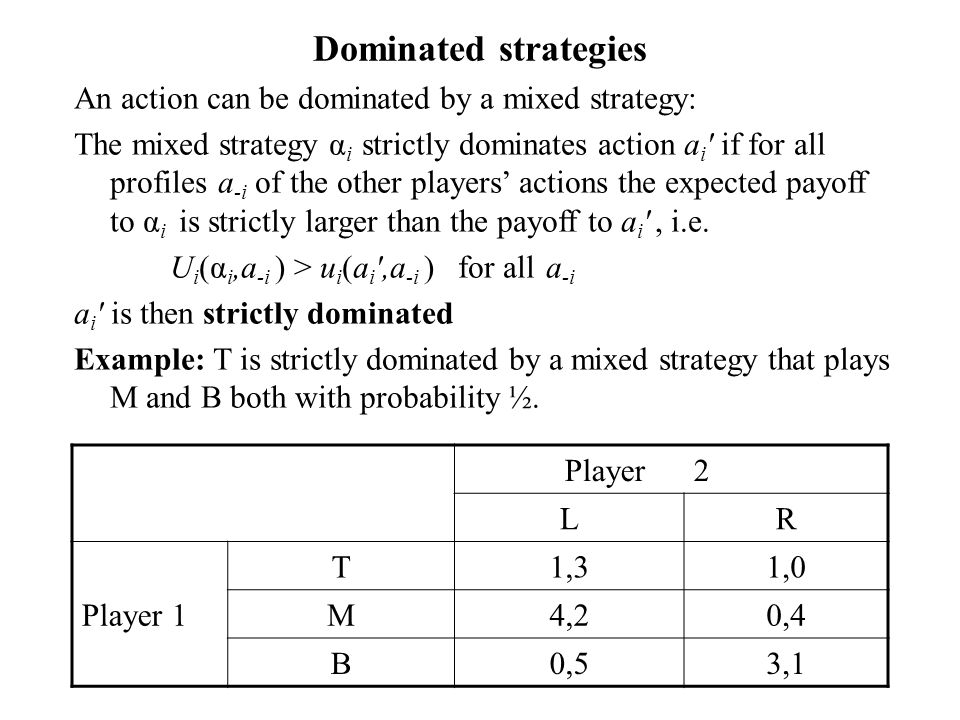 Dominated strategies An action can be dominated by a mixed strategy: